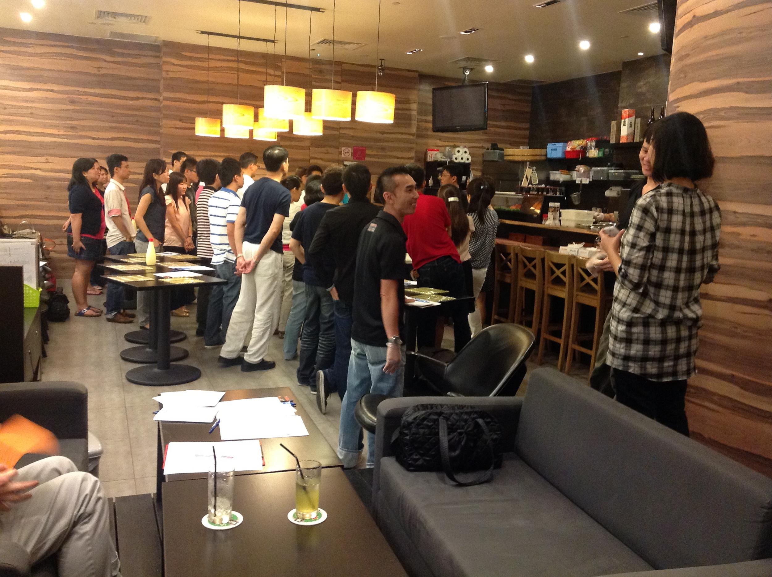 Sushi-making class at Marina Bay Link Mall. Located at the Marina Bay Financial Centre.