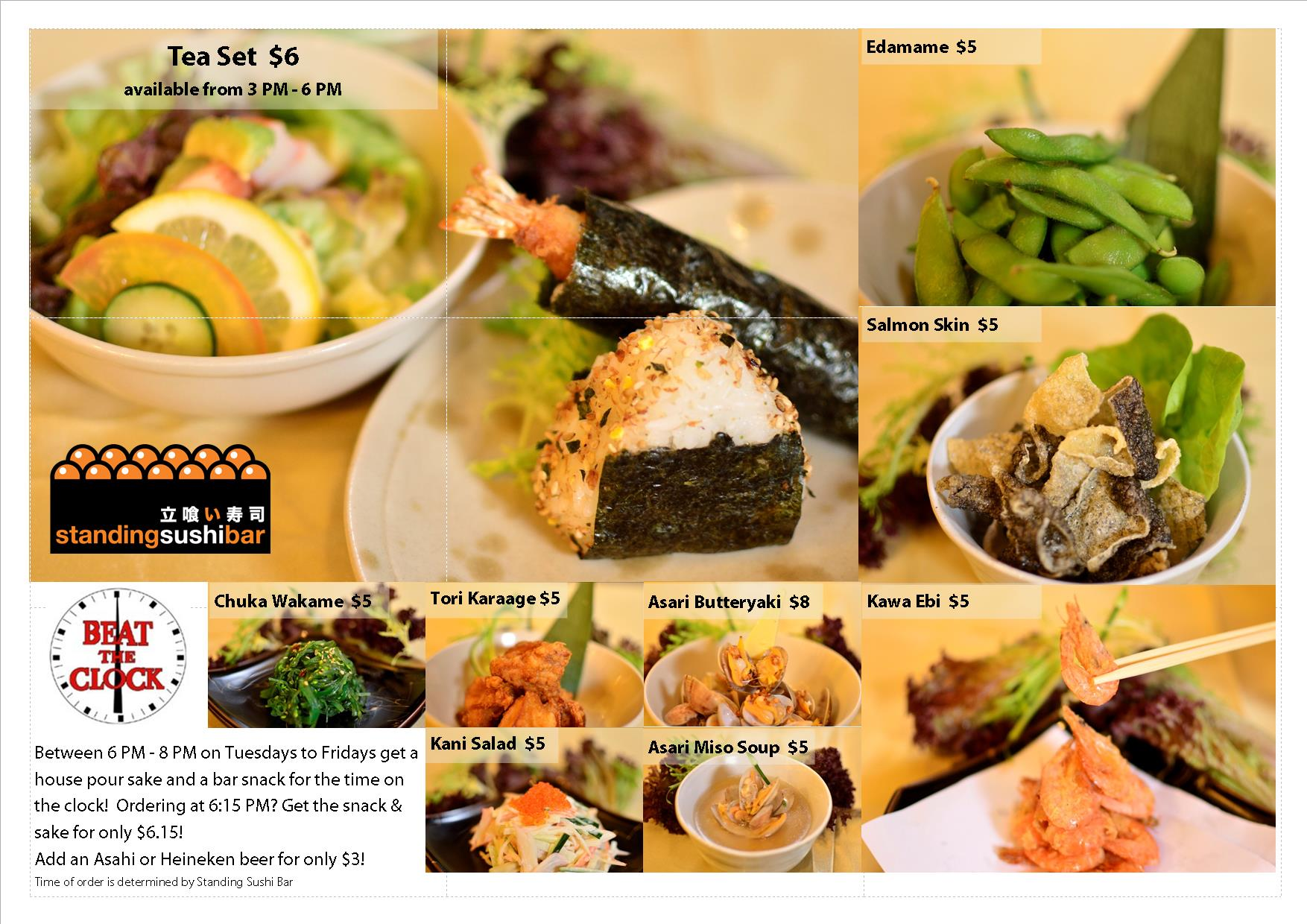Beat the Clock snack menu at Marina Bay Link Mall. Onigiri, sushi, temaki, salmon skin, and more!