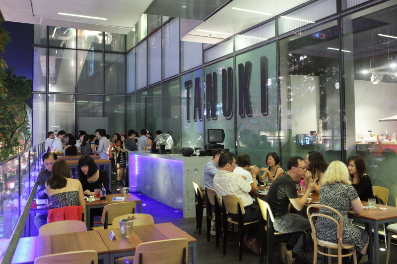 The balcony over Orchard Road at Tanuki Raw