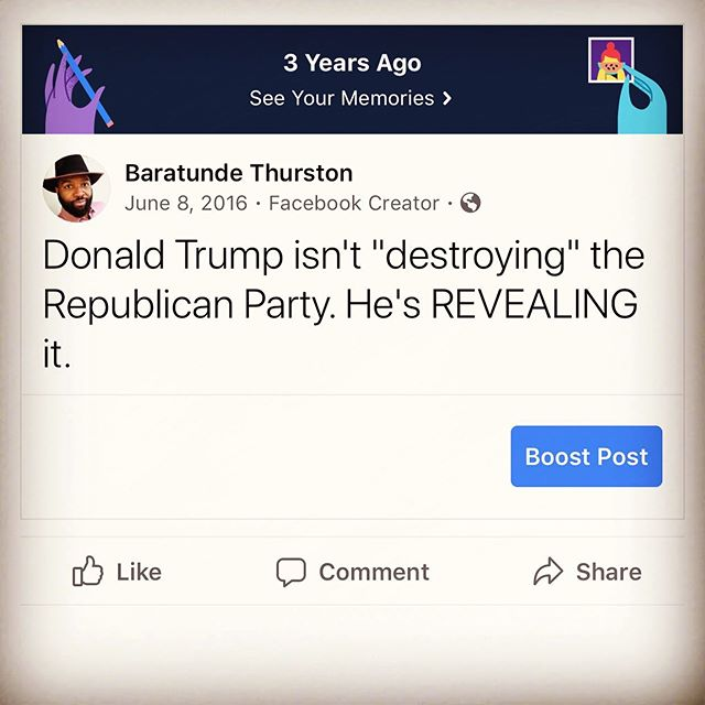 Three year anniversary of this observation. It was more true than even I imagined.  #unitedstates #politics #donaldtrump #trump #gop #republicans #republicanparty #america