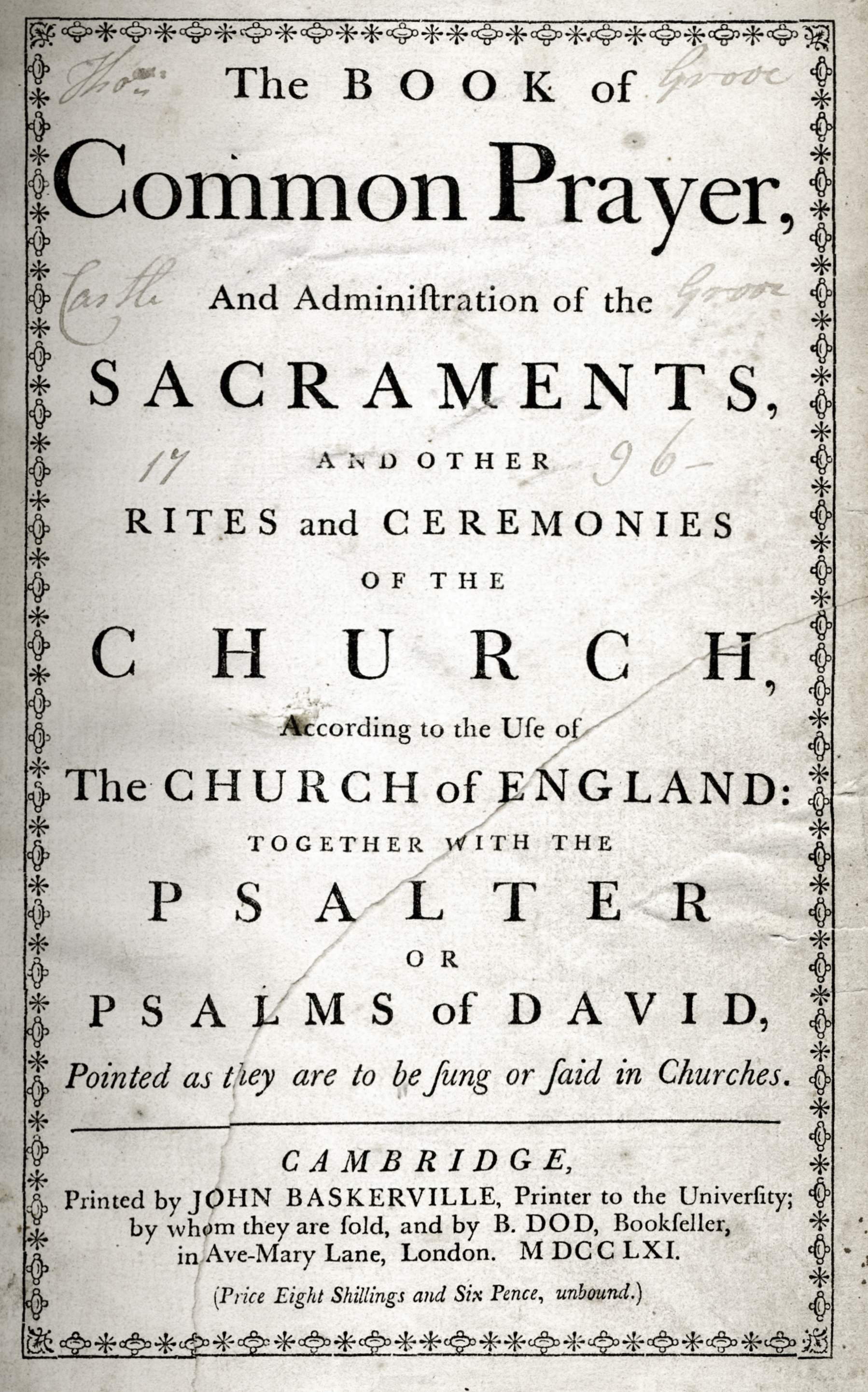 A prayer book printed in Baskerville from 1766.