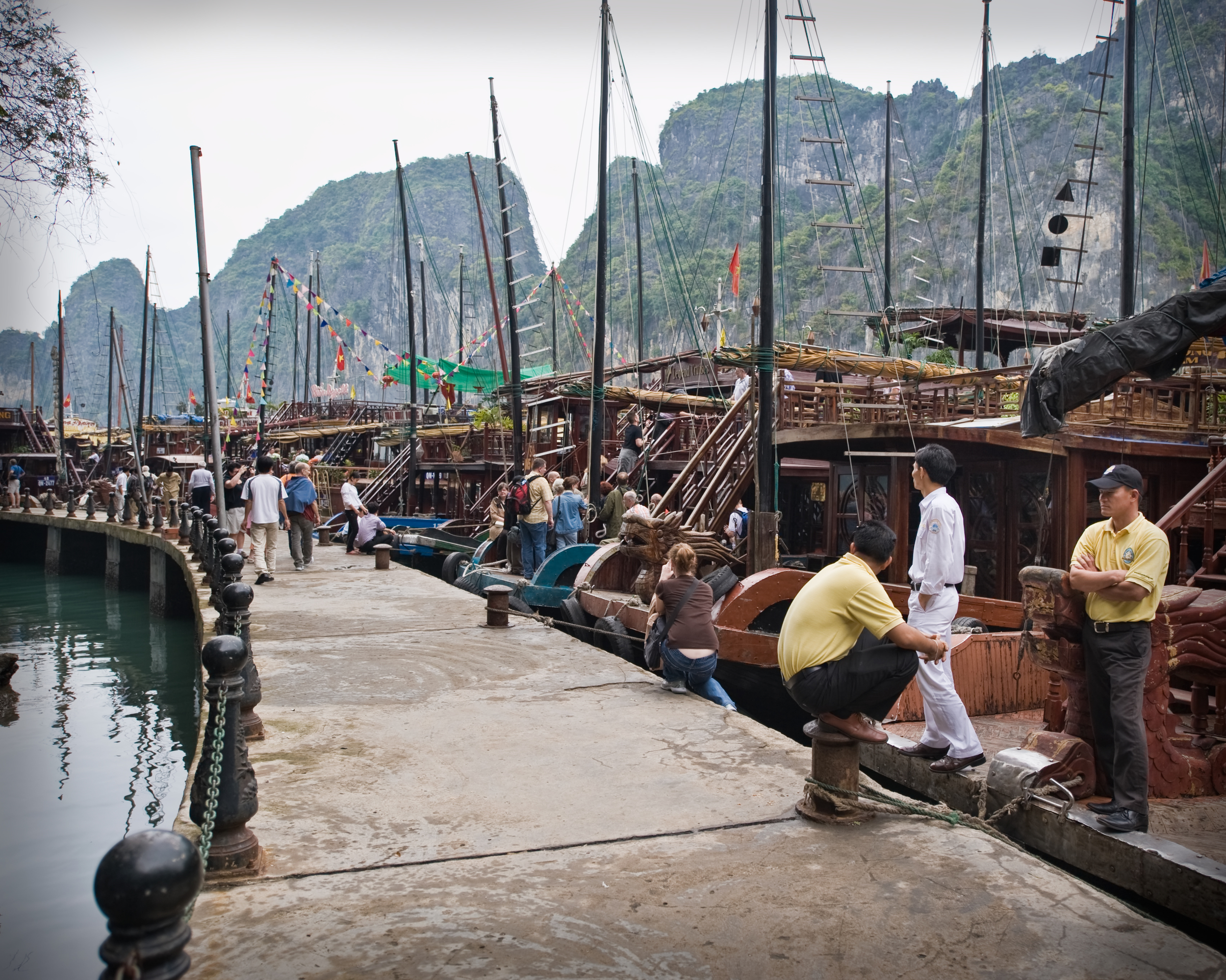 Boats at the tourist island dock, Ha Long Bay.
