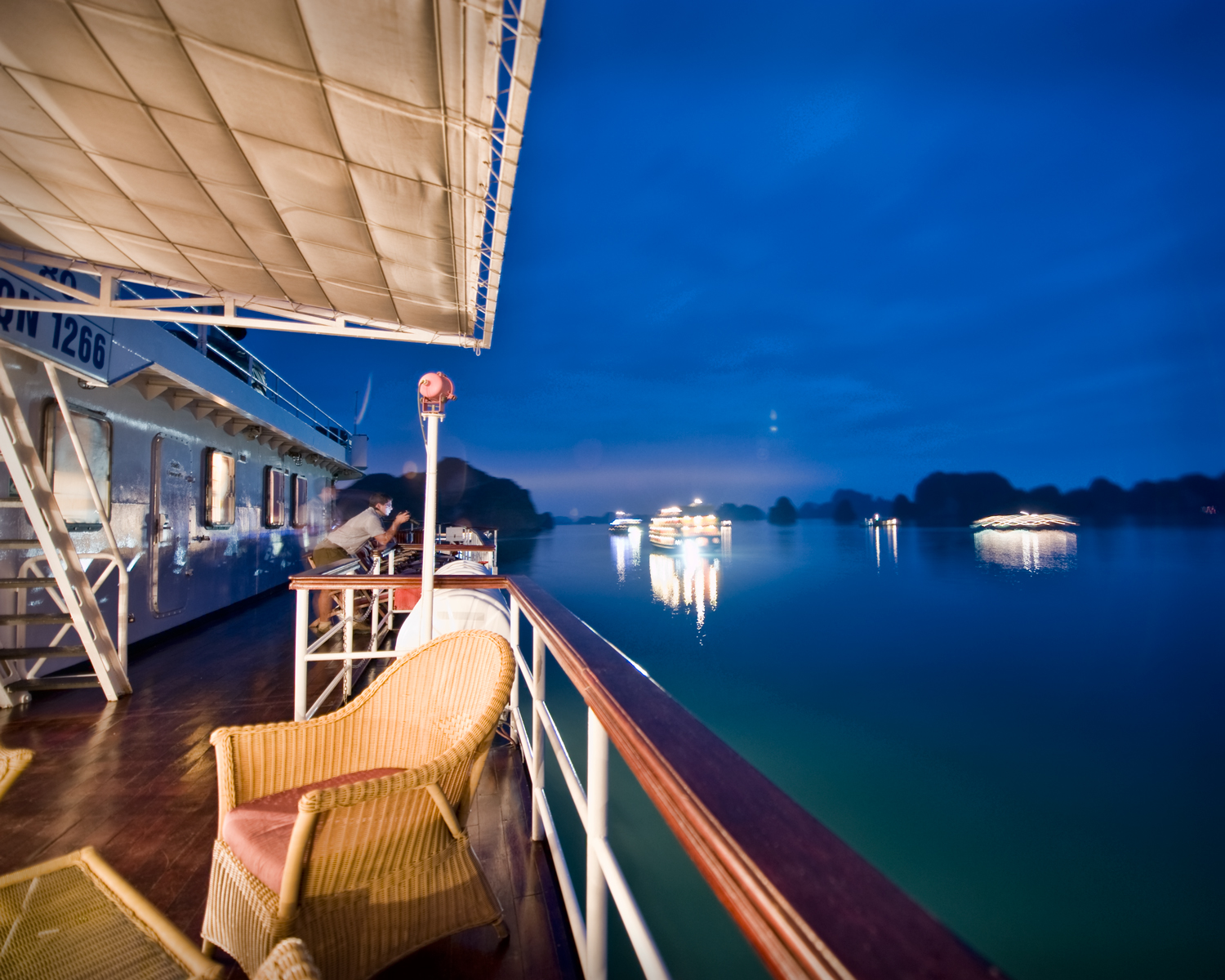 On board our cruise ship at night