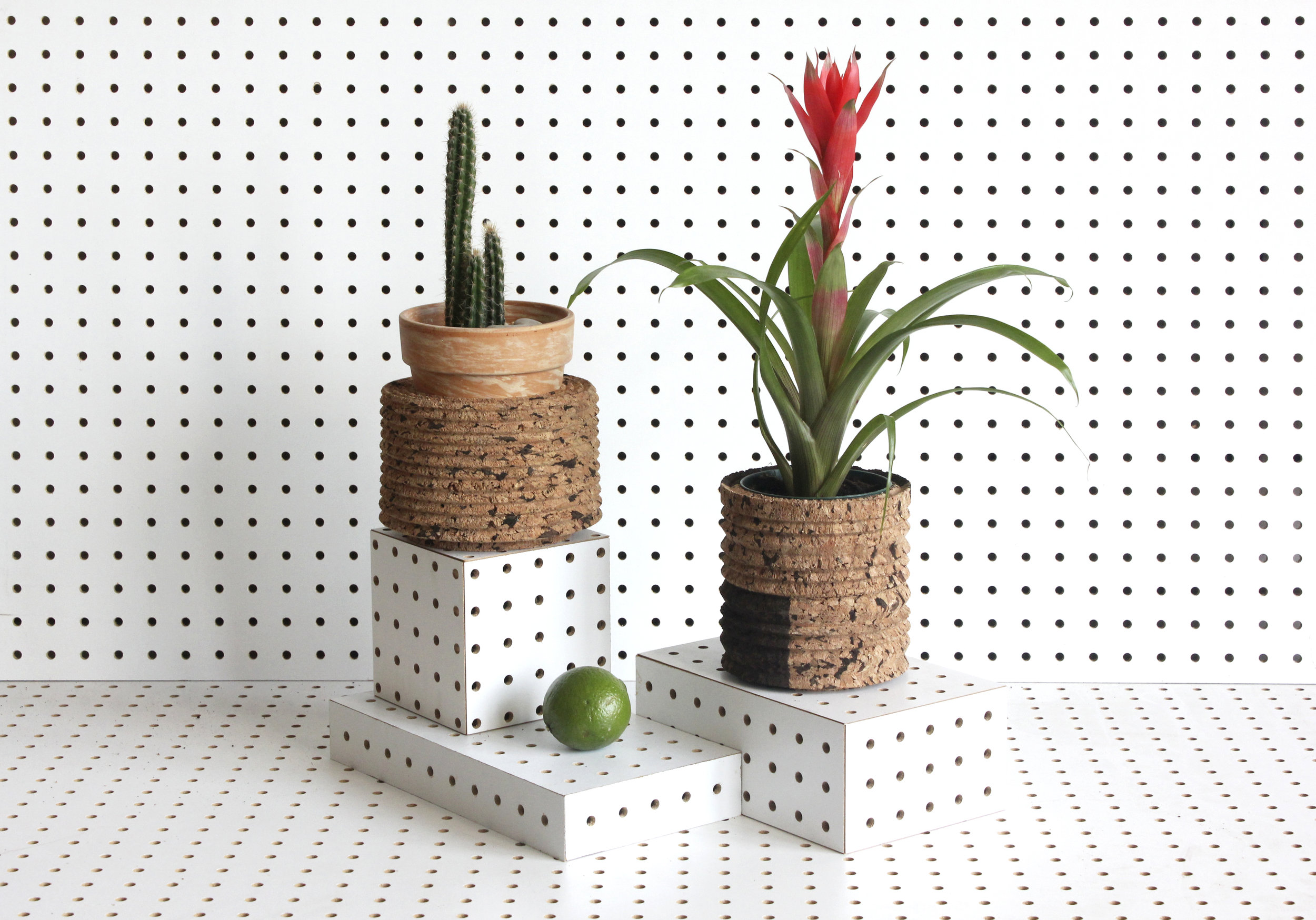 "Zigzaggy planters     A new series of planters and vessels that explore dual cork tones and surface textures. 6"" x 8"".  SHOP"