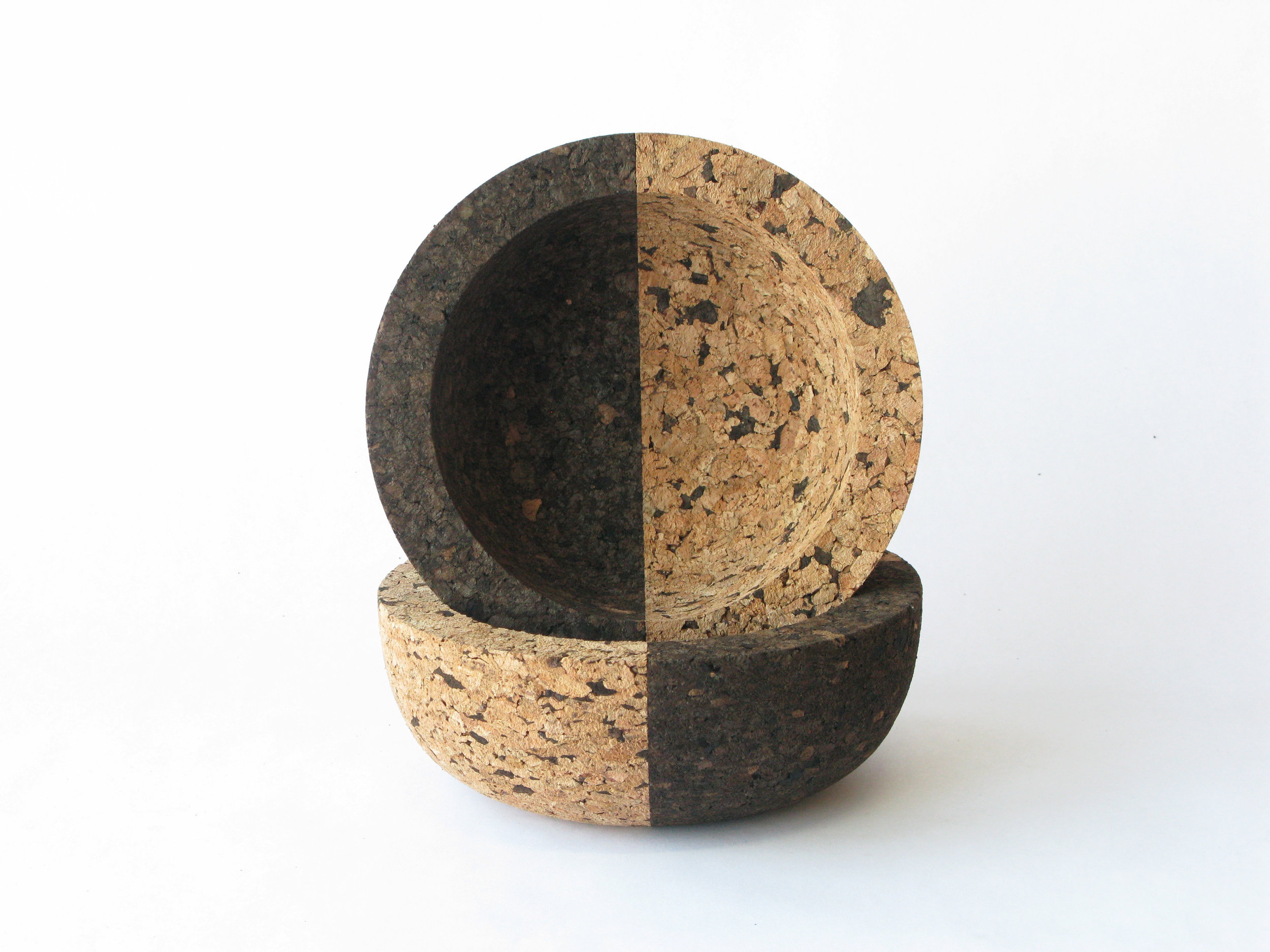 "Dual Bowls     A new series of bowls that explore dual cork tones and surface textures. 8"" x 3""  SHOP"