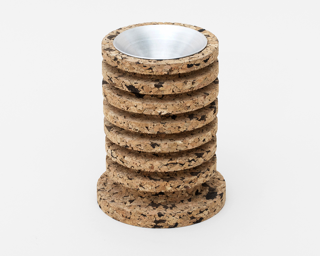 Stashtray     Featured in The Ashtray Show at  Fisher / Parrish  Gallery, Brooklyn. This object both offers a spun aluminum container while concealing an inner chamber of glass and cork to contain whatever material creates ashes. Photo: Clemens Kois, courtesy of Fisher / Parrish.  SHOP