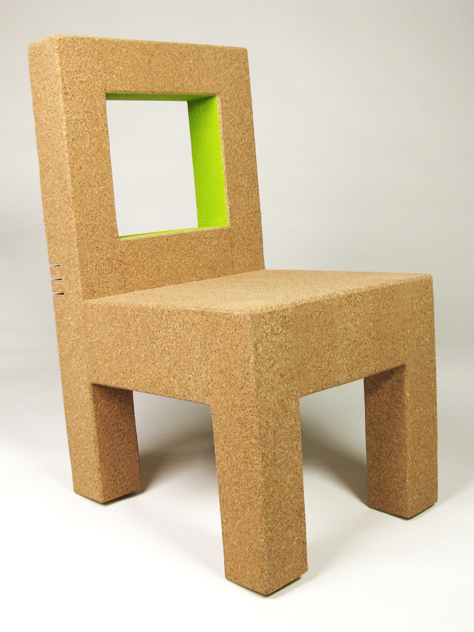 "Tilter chair - 2009    32"" H x 22"" W x 26"" D - Recycled Cork, Paint.   A simple chair with a simple twist, inspired by the movement of Shaker dining chairs. The back rest features relief cuts that allow for a few degrees of tilt and movement, adding support and spring. Available in both adult and children's sizes.  Suitable for indoor use, with an option for weatherproof paints. Standard wait time is 4-6 weeks.  SHOP"