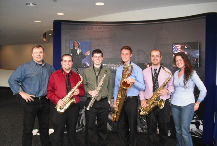 Dr. David Stambler with a few members of the Penn State saxophone studio: Adam Miller, Chris Wahlmark, Tim Sheridan, Gabe Fadale, and Abbi Conklin.