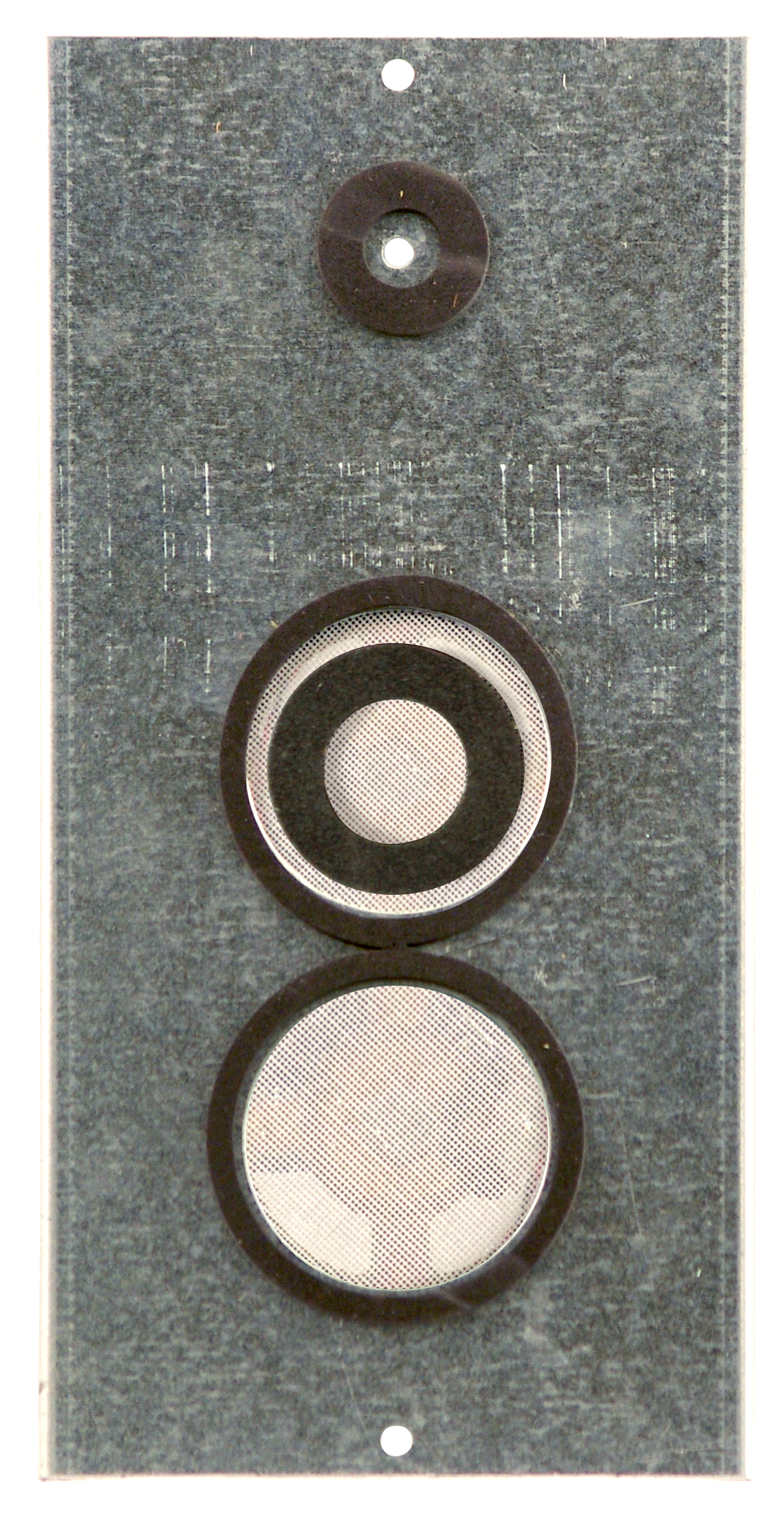 "Commander series - OEM-CM   Distance from mic to speaker is 2.5""  Total dimensions are 9.5""x4.75""x2"""