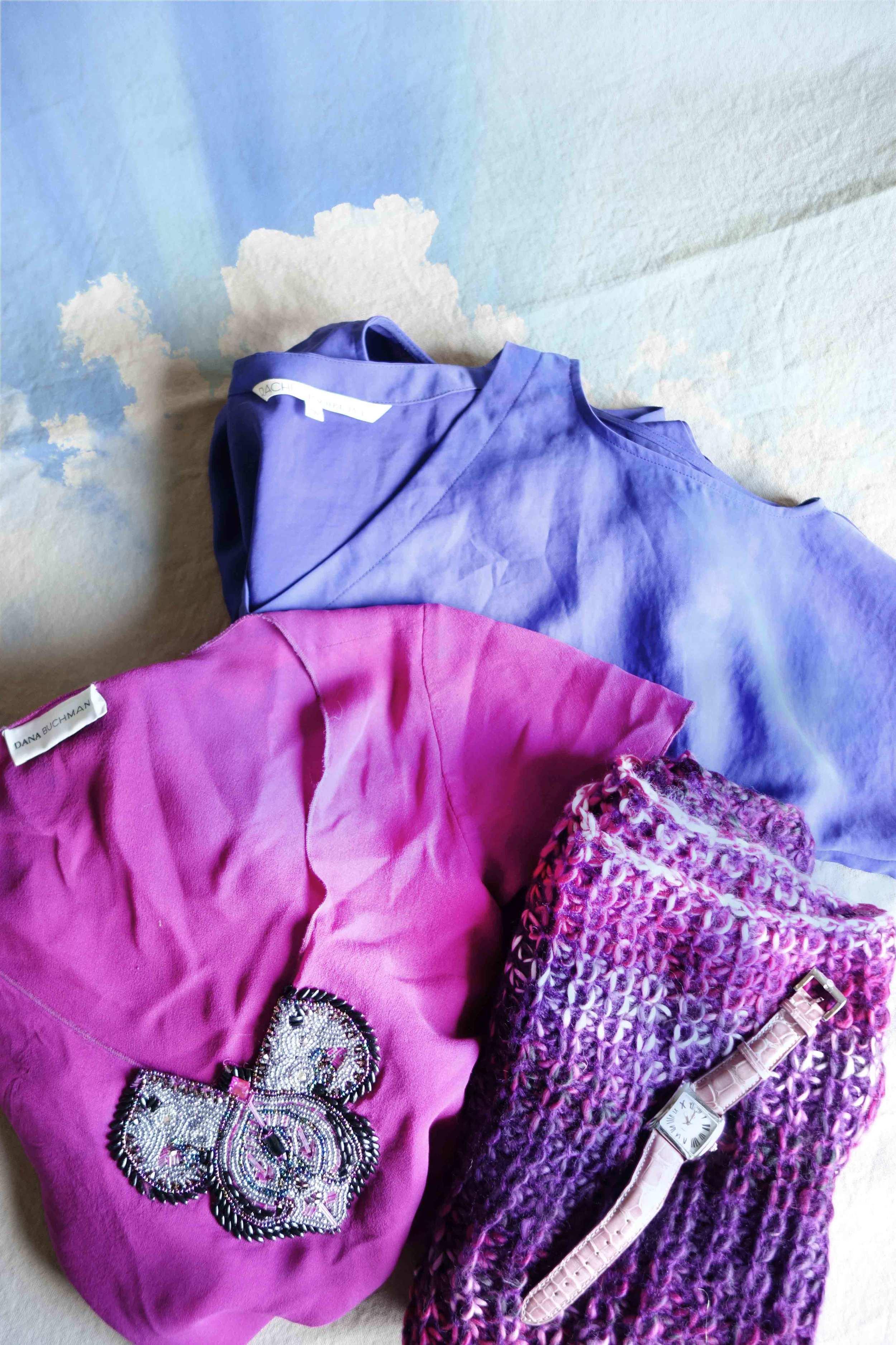 clouds + sunbleach silk:   hand-me-down Dana Buchman blouse +  Rachel Zoe  + gifted infinity knit + wrist watch
