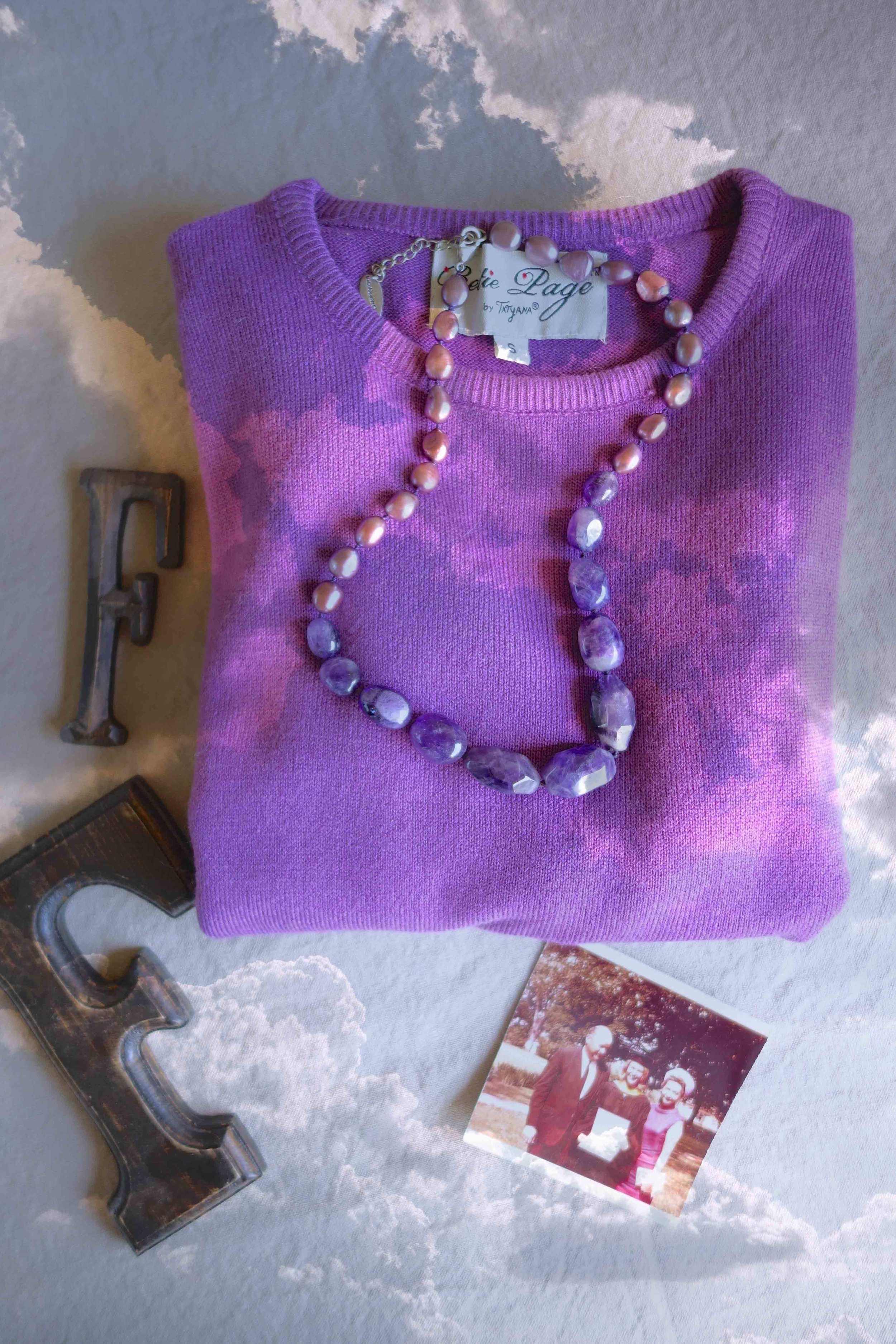 F for Fuchsia:   Bettie Page crop sweater | amethyst + fresh pearls
