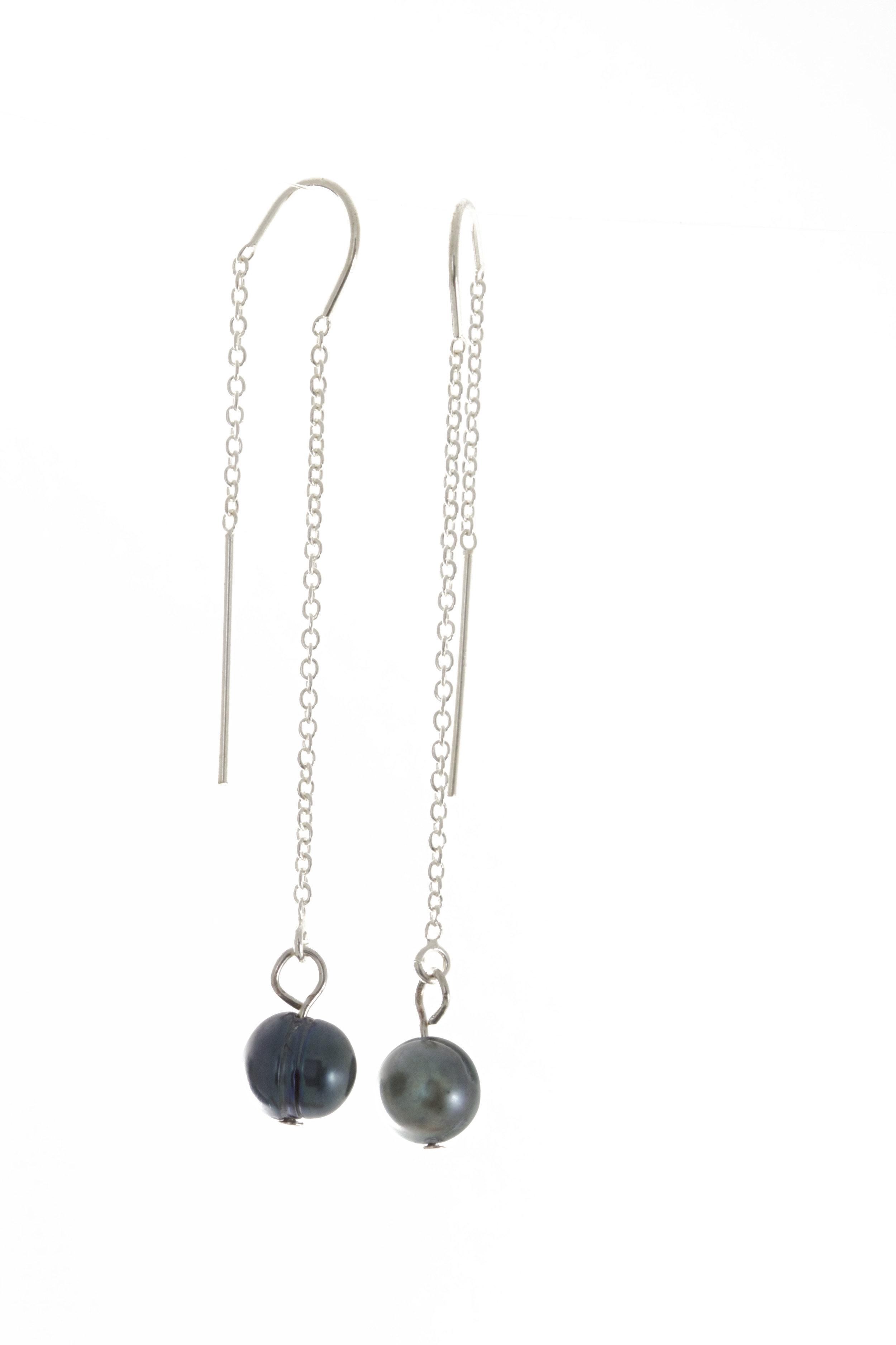 Blue baroque pearl earrings sterling silver ear wires.