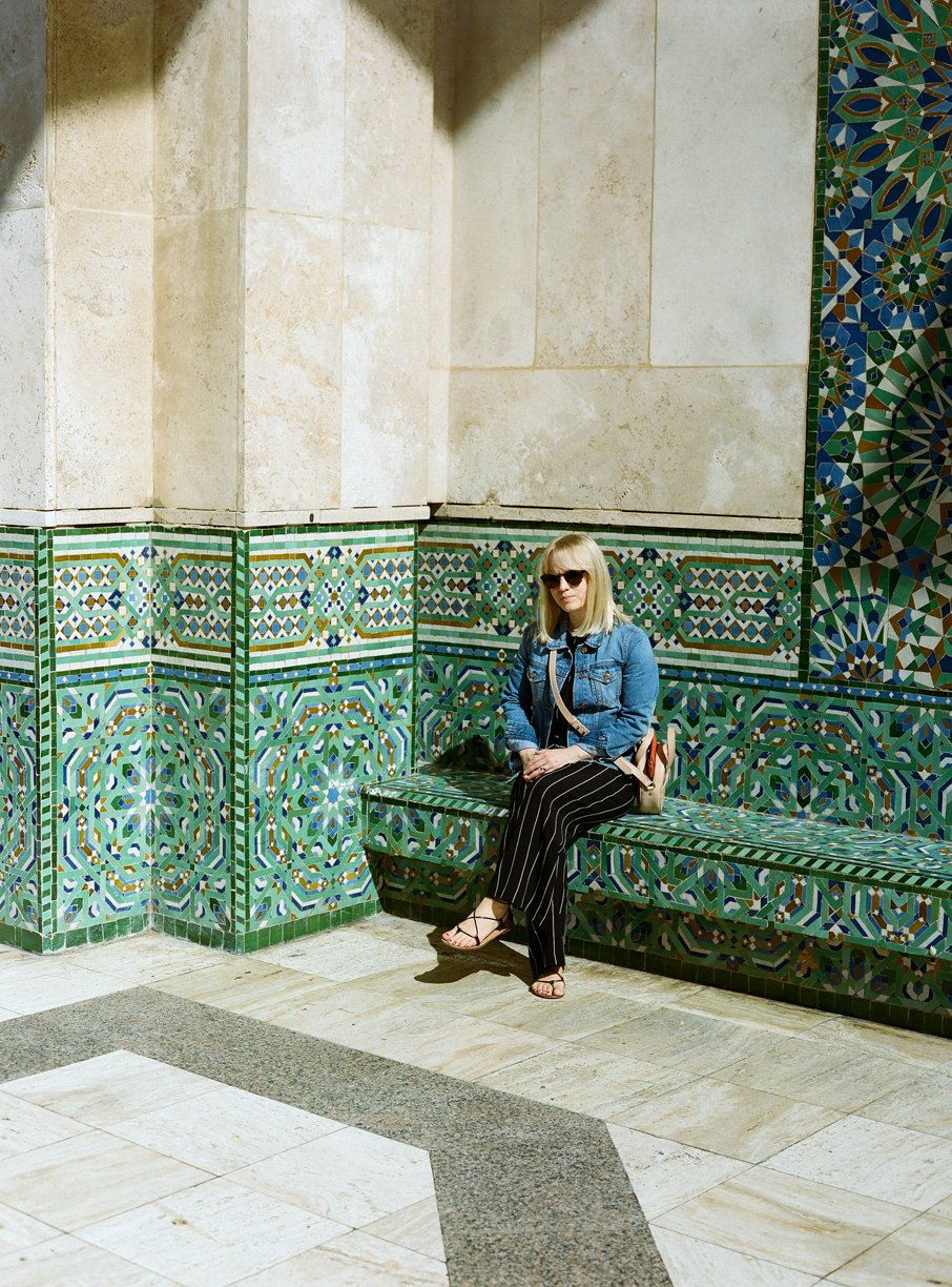 allison seated on tile bench at hassan mosque II_web.jpg