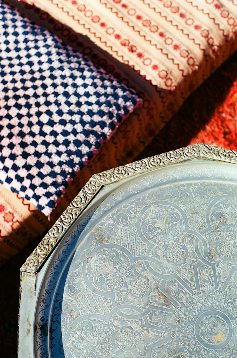Silver Plate and Pillows by tent_Sahara Luxury Desert Camp_web.jpg