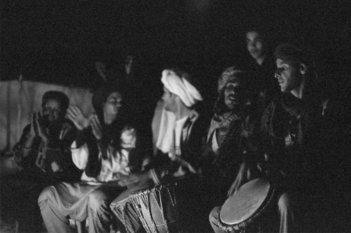 Campfire Music_Men Playing Drums_Sahara B&W_web.jpg