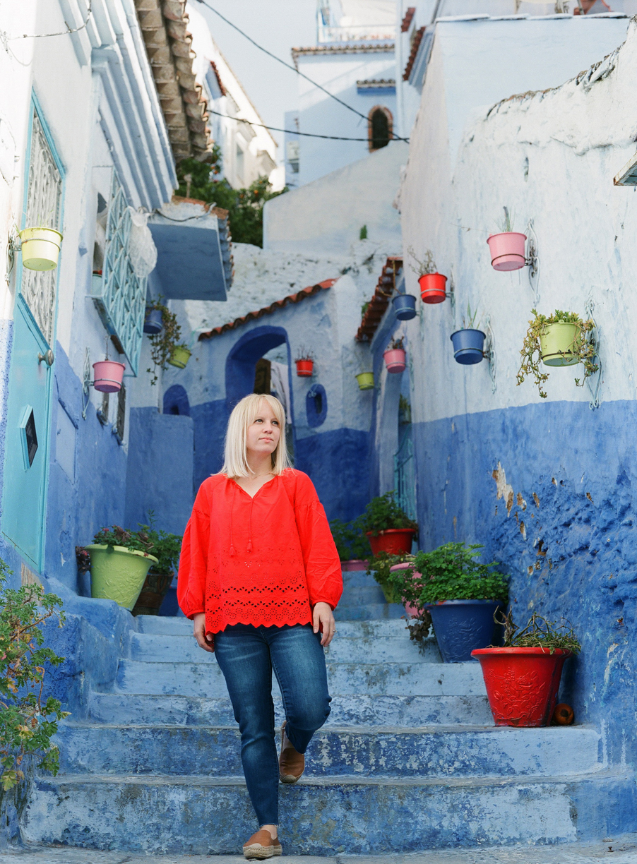 Allison Descending the Blue Stairwell in Chefchaouen_web.jpg