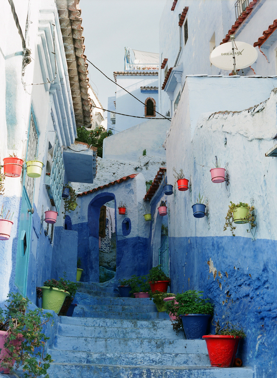 Chefchaouen Stairwell with Colored Pots_web.jpg
