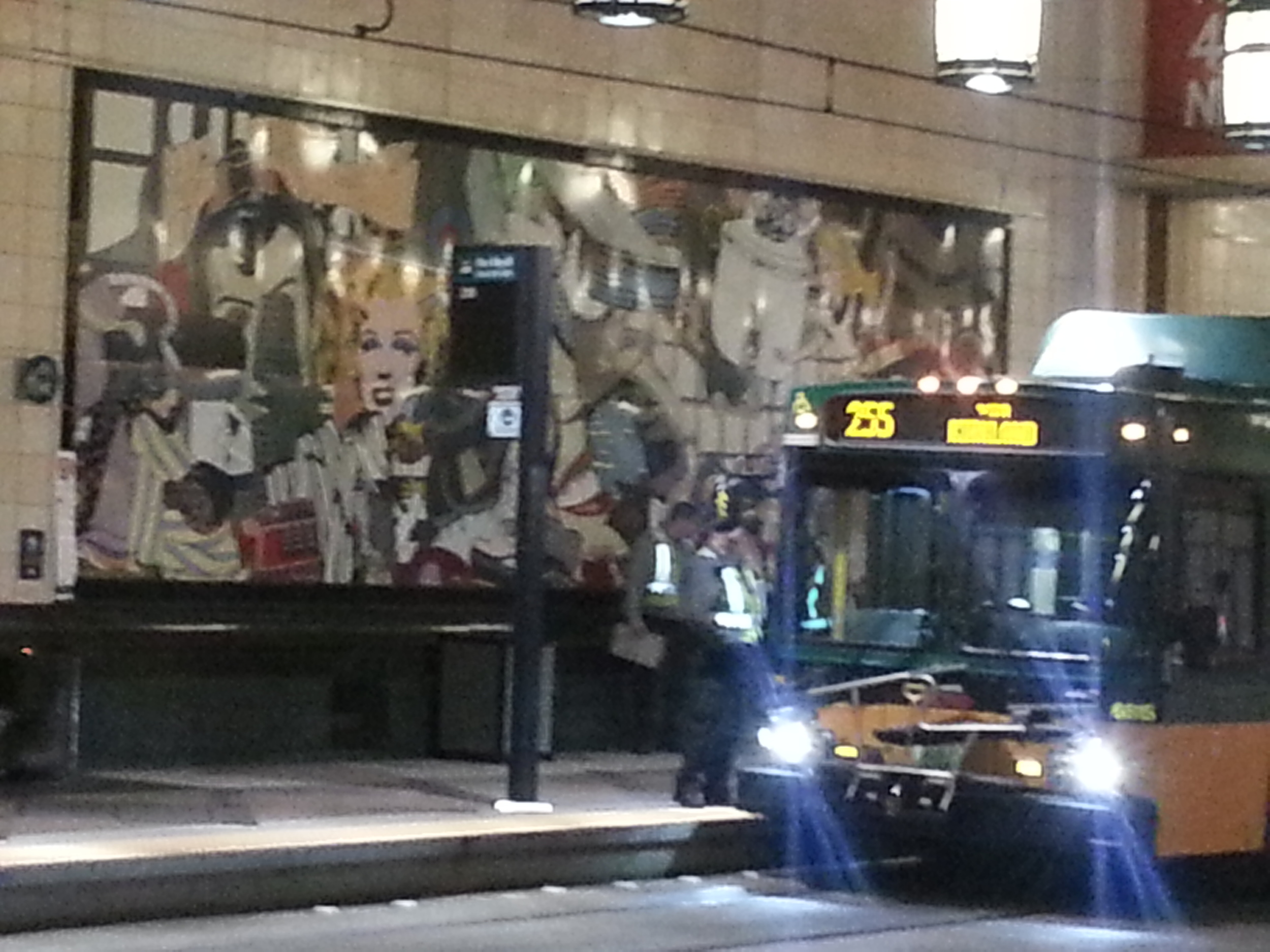 Westlake Station in downtown Seattle serves both the light rail line and bus lines creating a vibrant, and colorful transit hub.