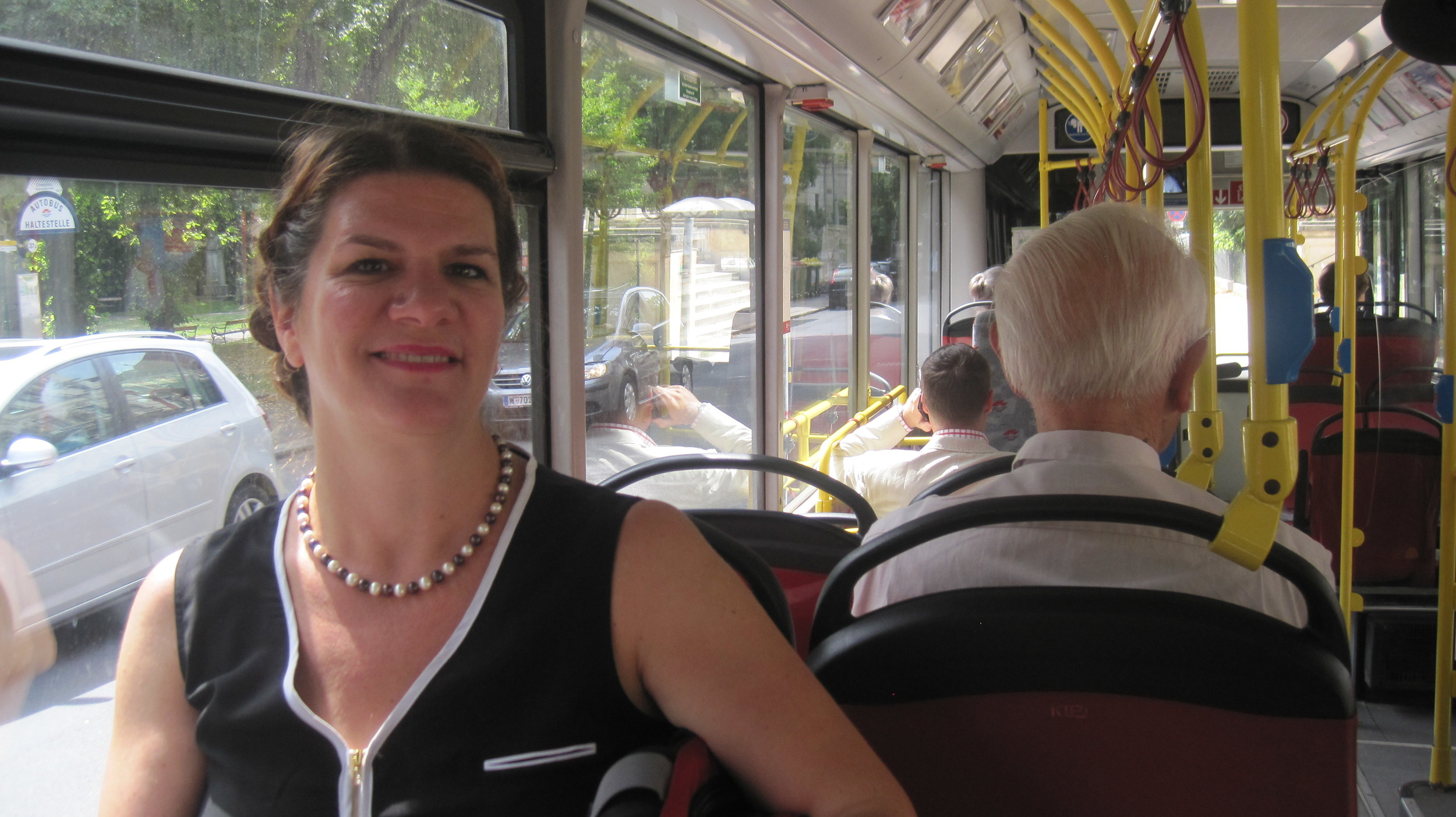Enjoying a ride on Vienna's bus, the third part of a seamless rail to tram to bus route I took during my time interviewing transport professionals in the city during July 2014.