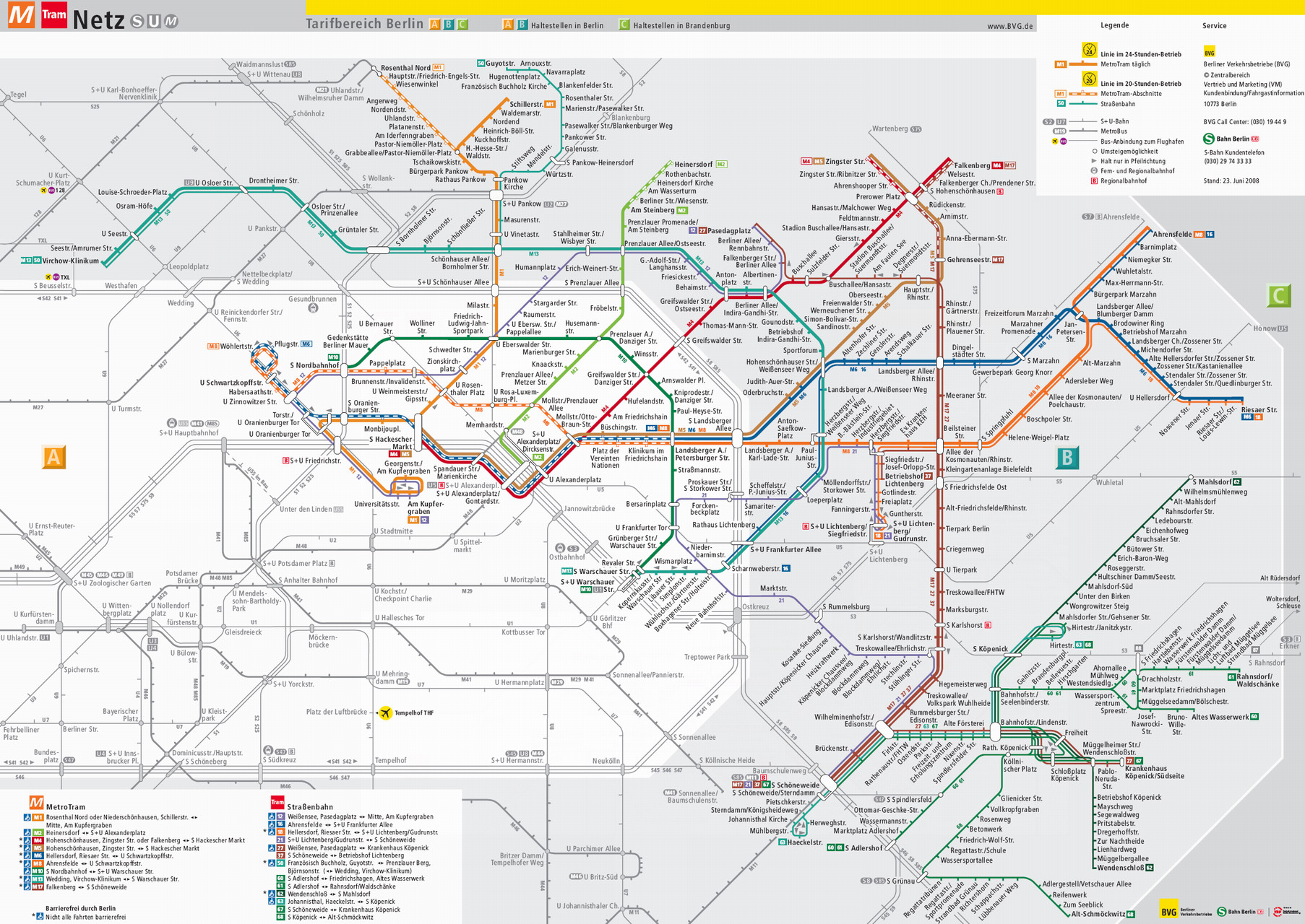The Berlin tram system (shown in thecolored lines) is an extensive streetcar system that predominately serves the eastern metro area supporting economic and social activity along the system and at intermodal nodes.