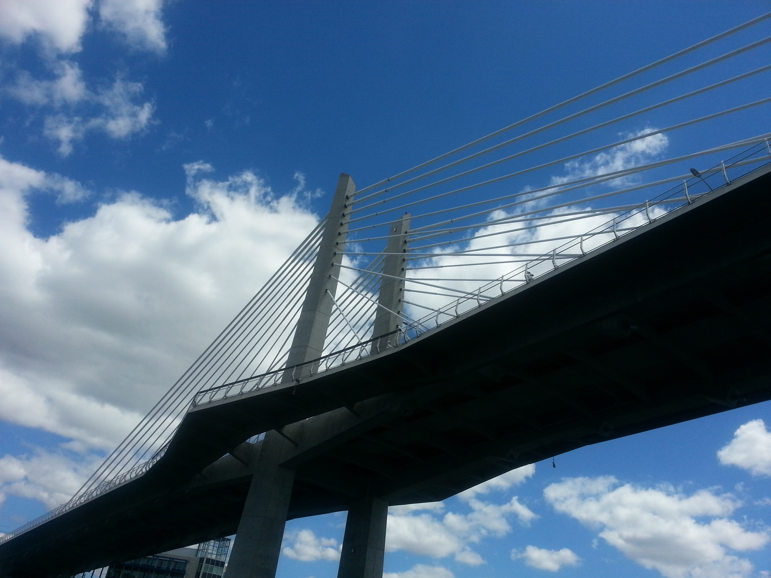 Among Portland's many highlights is the new Tilikum Bridge that will open In September 2015 -- providing a transit/pedestrian/bicycle-only river crossing. This photo of the bridge was taken while kayaking under it on the Willamette River...a great way to see Portland! (Photo: MZimmerman, 2015).