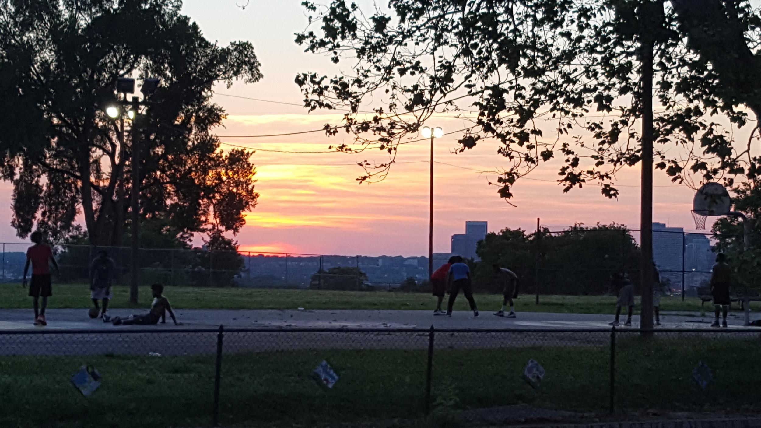 Teens enjoy basketball and an amazing Fulton summer sunset (Photo: M. Zimmerman)