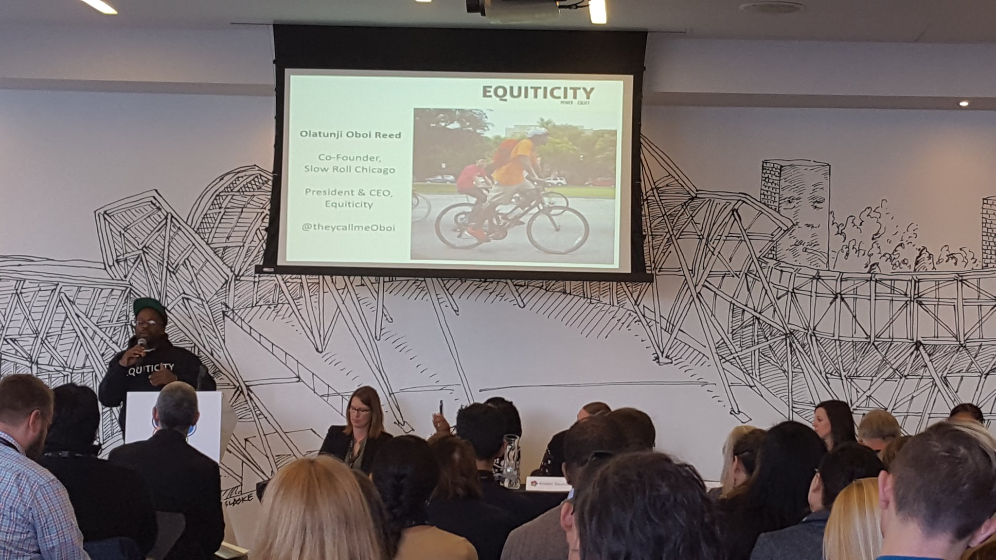 Oboi Reed of EquitiCity speaking at SUMC18 reminds us that mobility is transformative, and key to racial equity. (Photo: MZimmerman, 2018)