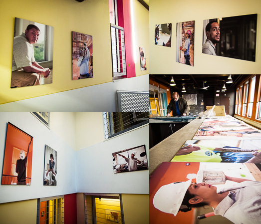 """United Teen Equality Center - """"Chipping Away"""" show being hung"""
