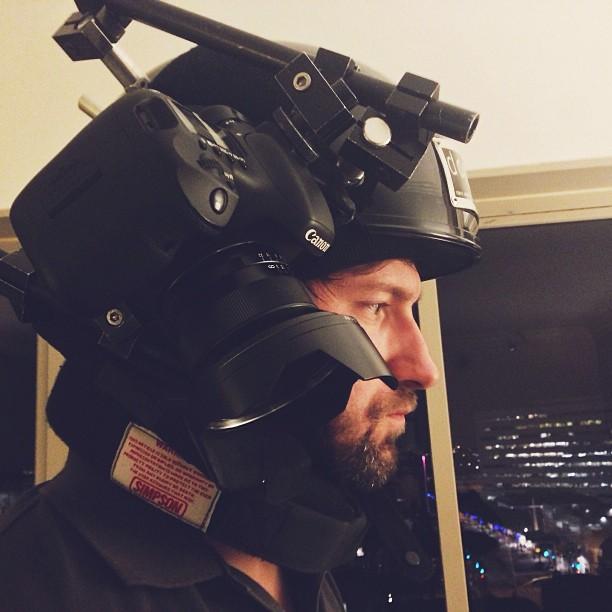 Testing a helmet-cam in LA.
