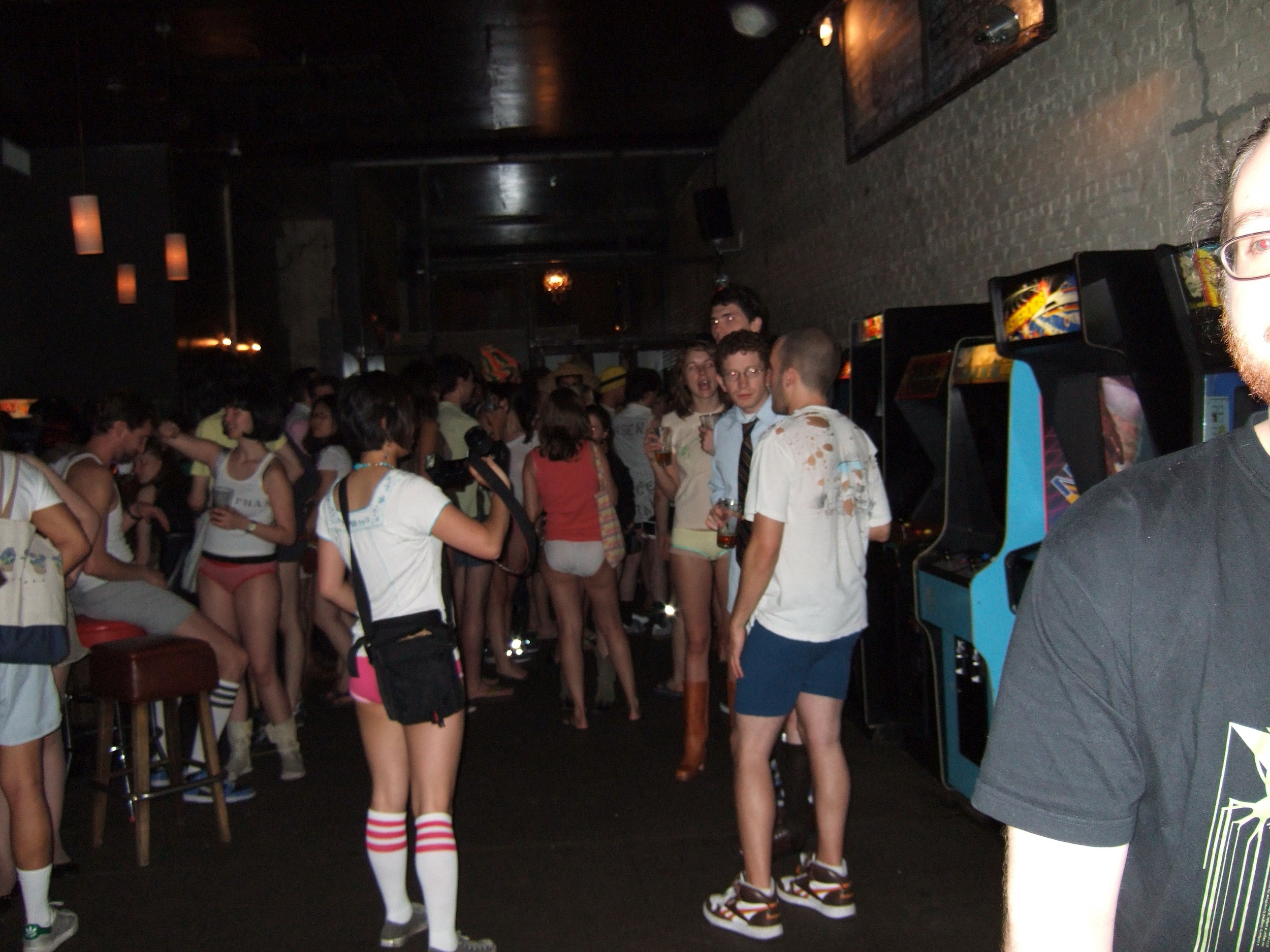 "In 2005 Lvhrd hosted  GMHRD  the ""underpants only videogame tournament"" at     Barcade .  Created a vert awkward social situation, by taking away everyone's pants. Image ©Erin Sparling"