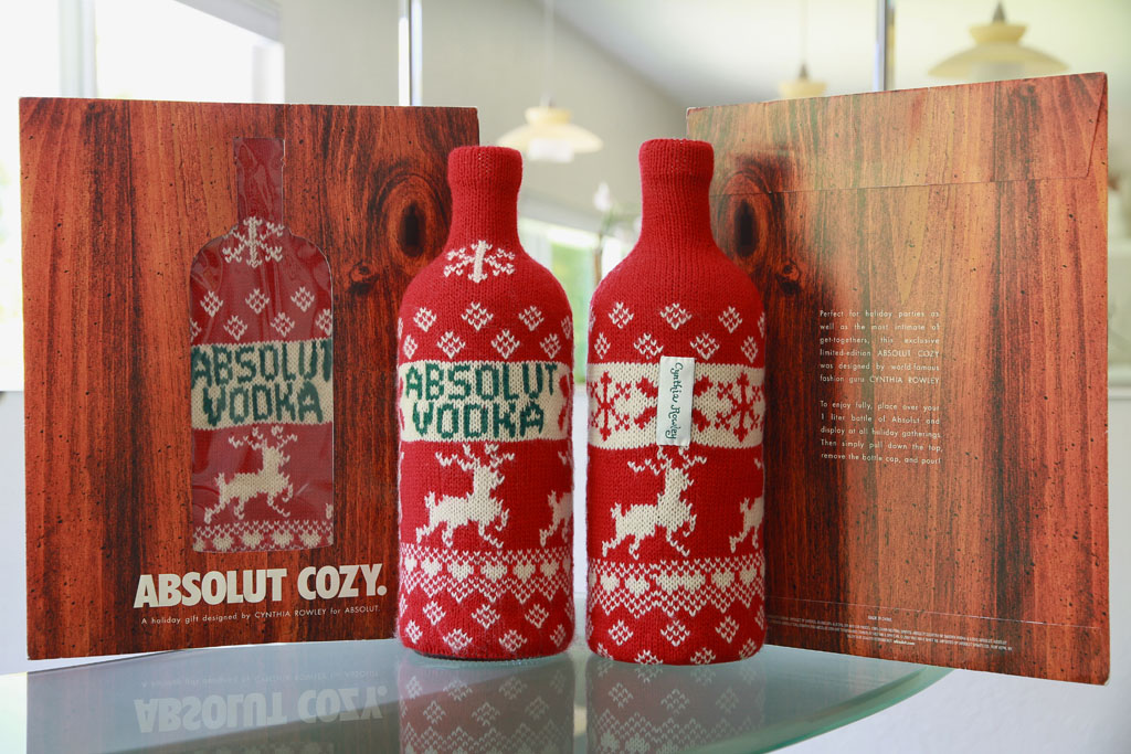 ABSOLUT COZY. Was a collaboration between ABSOLUT and Cynthia Rowley. They Distributed 1 Million in the Sunday Edition of the New York Times in December of 2001.