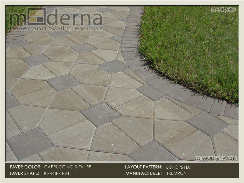 Bishops hat pavers in Cappuccino and Taupe.
