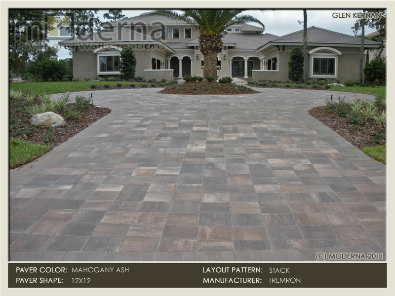 The completed paver project in Jacksonville FL. Notice the perfect placement of the drive & tree against the home.