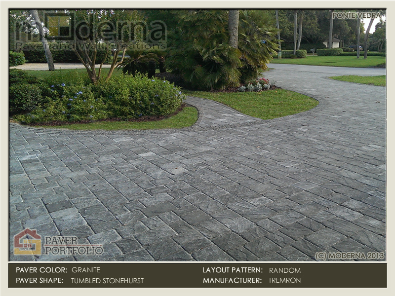 The tumbled Stonehurst paver islaidwith three different sizes alternating in direction.
