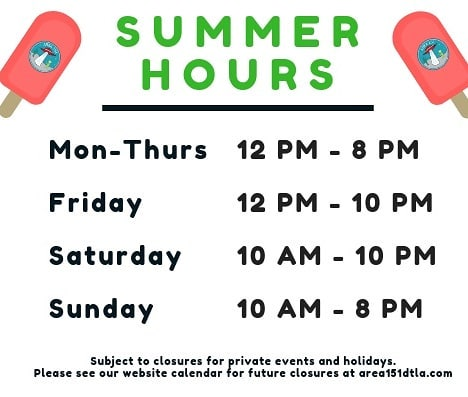 School's out! 🌞  Our summertime hours have gone into effect immediately which means we are open earlier on weekdays. Stop in during your summer break to escape the heat!  _  #area151arcade  #area151 #losaltos #summerfun #videogames #arcadegames #arcadefun