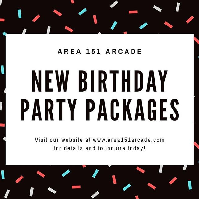 New birthday party packages have landed on our website!🛸 Wether your event is small or large we've got options to suite your party needs.  For more information click the link in our bio to visit our website.  _ #area151 #area151arcade #birthdayparty #losaltos #arcadegames #tokens