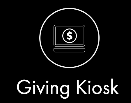 The giving kiosk is located at the information center in the lobby of the church. Here you'll be able to give a single gift or schedule recurring giving using your checking account, debit, or credit card.