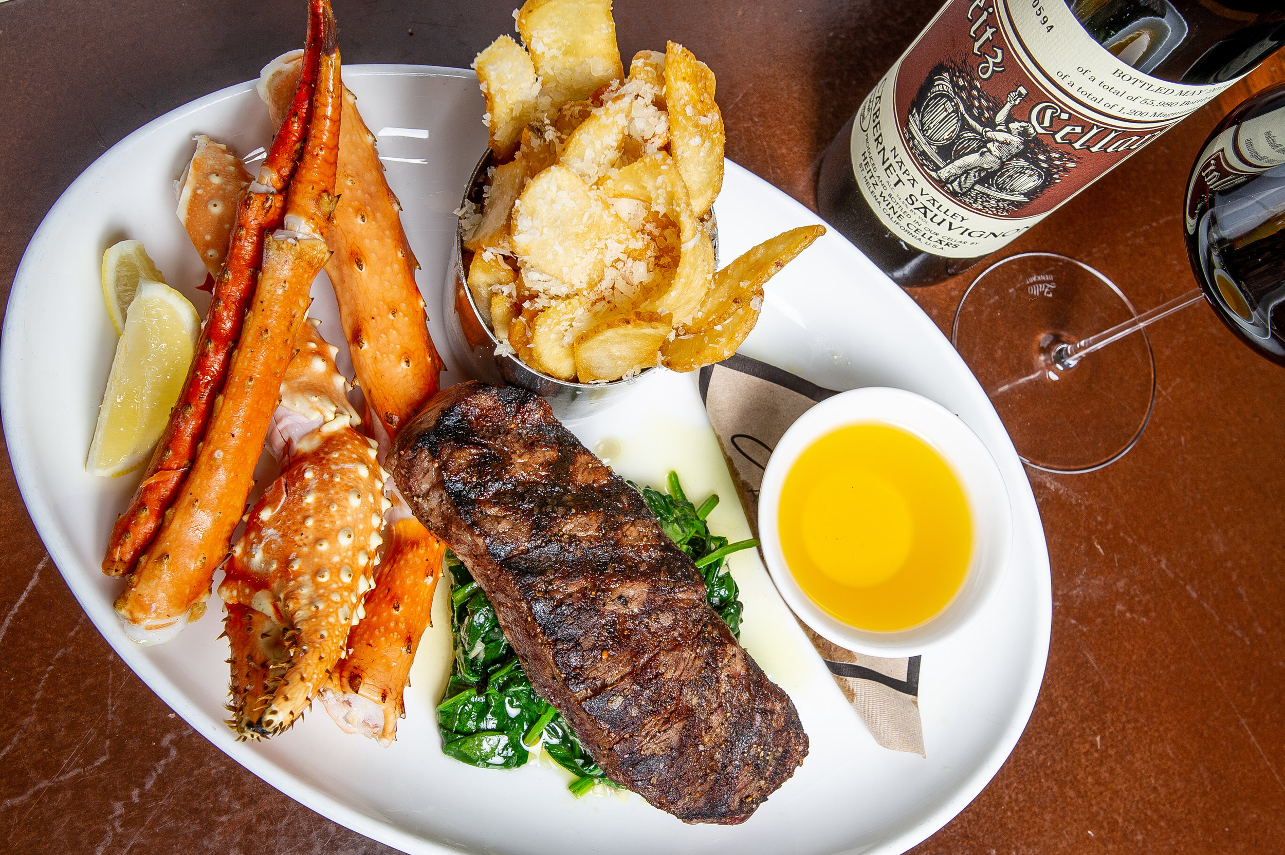 Prime NY Strip with Alaskan King Crab Legs