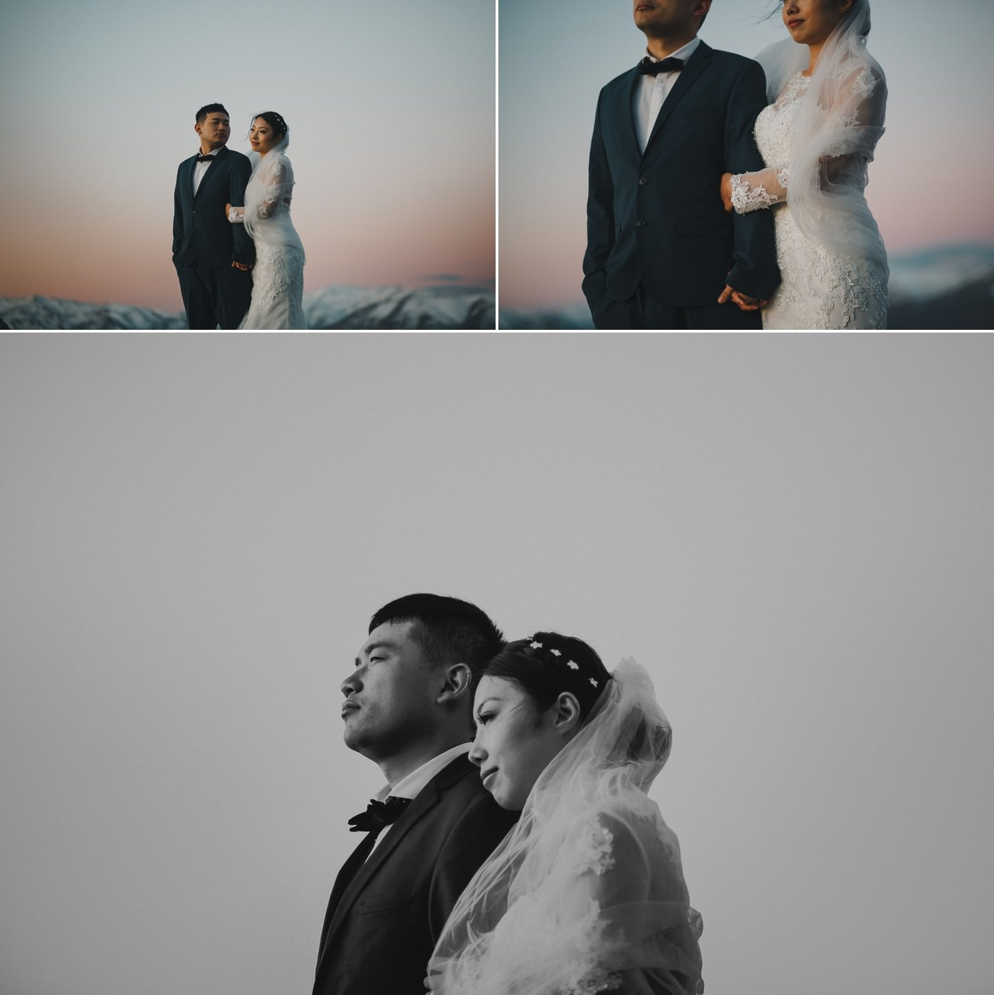 Bride and groom on snowy mountains above Queenstown