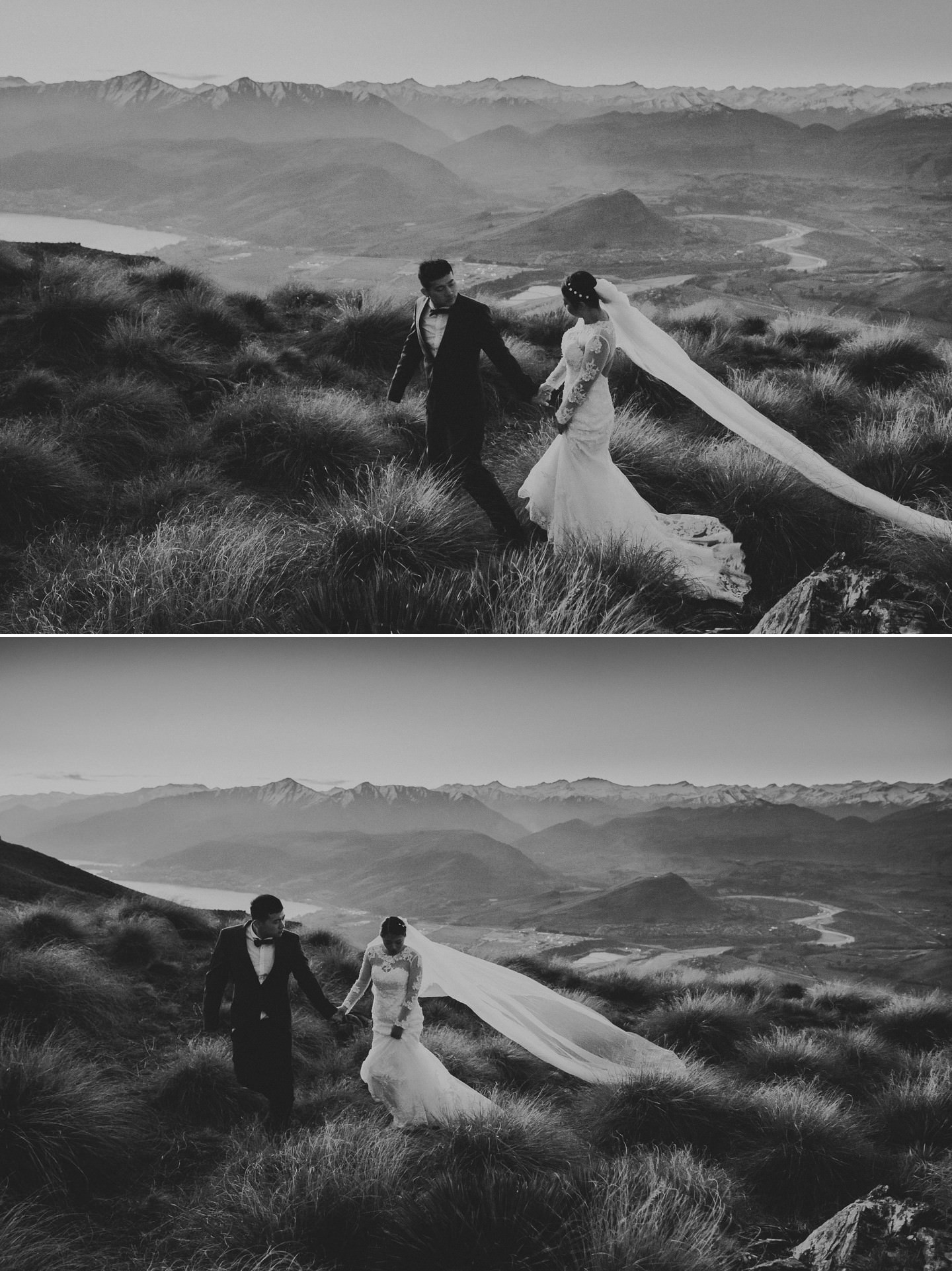 Adventurous couple together in walking on mountains in Queenstown