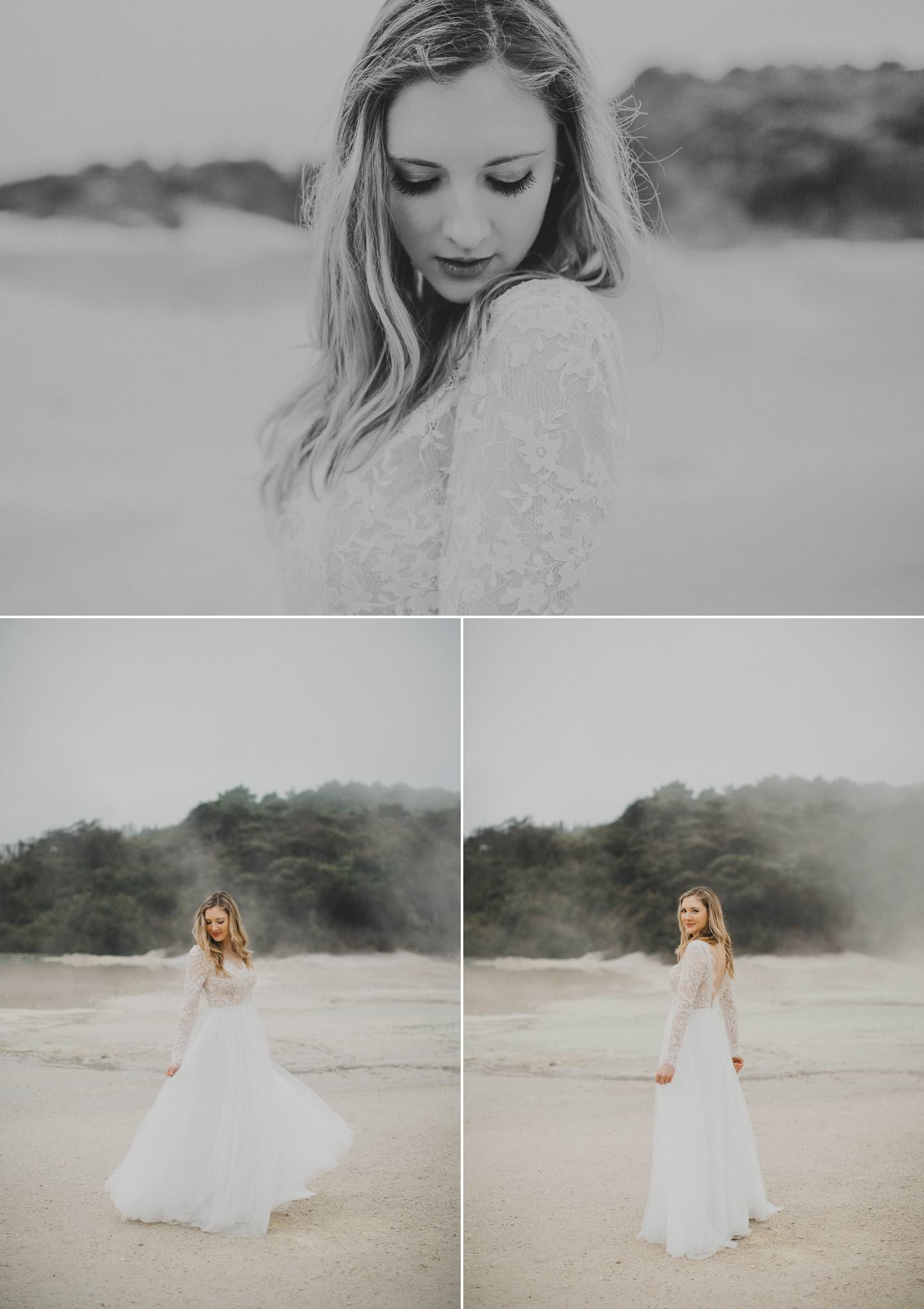 Artistic wedding photos of a beautiful bride at Champange Pools Rotorua. Wearing genevieve gown by Sally Eagle Bridal