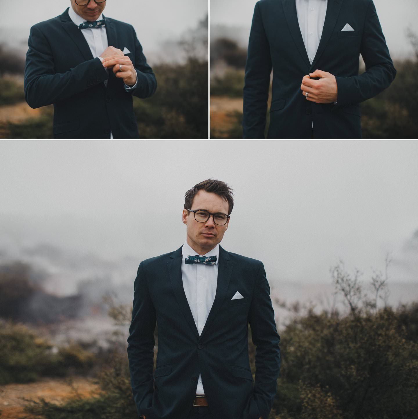 Stylish wedding suits for men. Groom bow tie by Toby and Tim