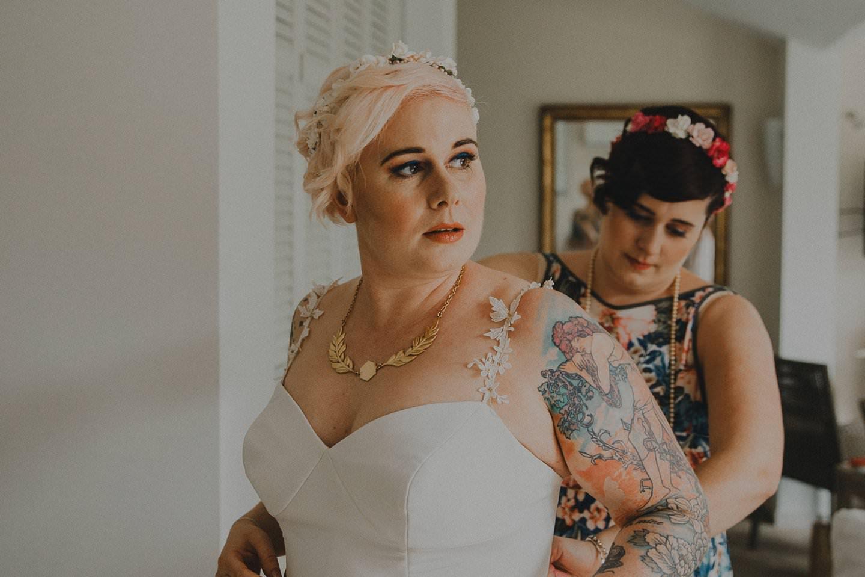 Alternative bride with tattoos