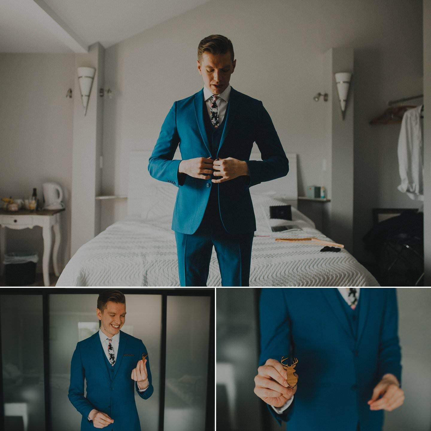 Stylish alternative groom wearing cobalt blue suit