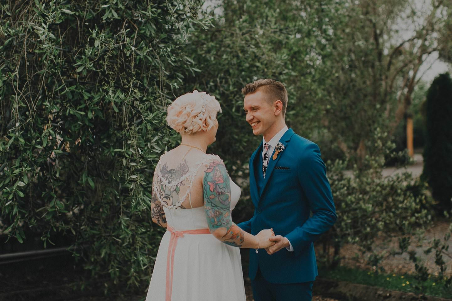 Alternative bride and groom during first look