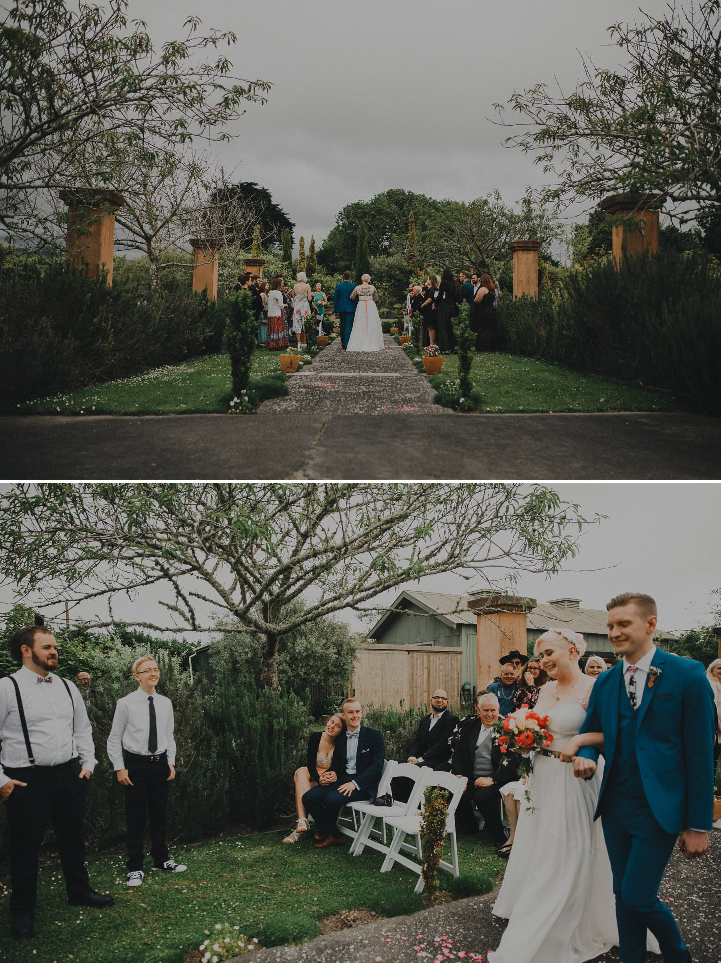 Alternative wedding ideas. Bride and groom walking down the aisle together