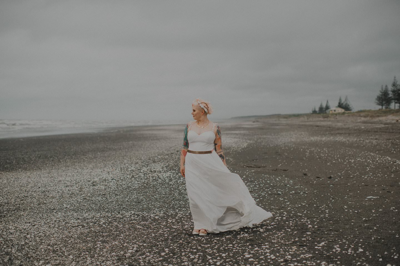 Sally Eagle Marilyn gown at beach wedding