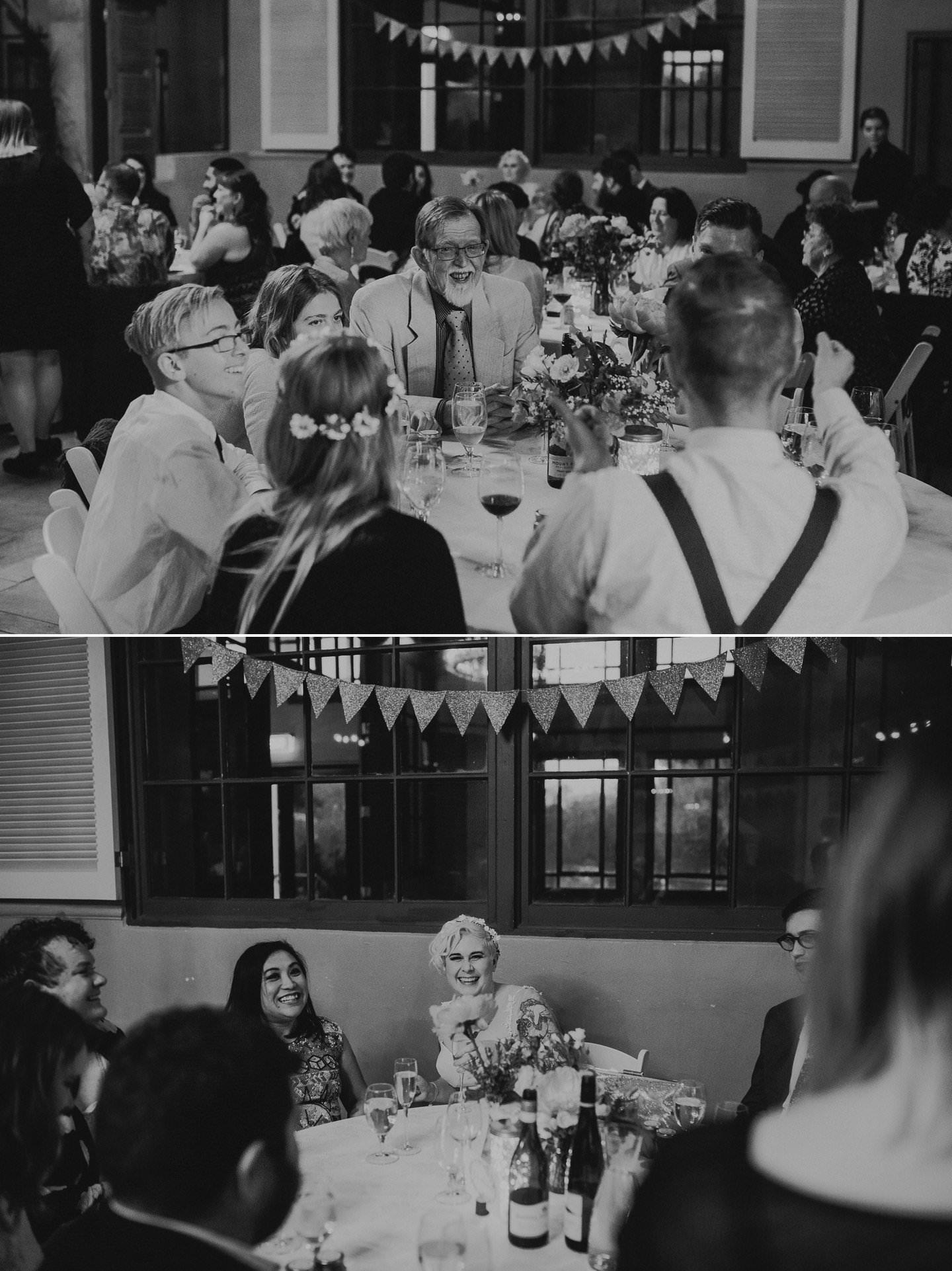 Candid wedding photos of wedding guests having fun