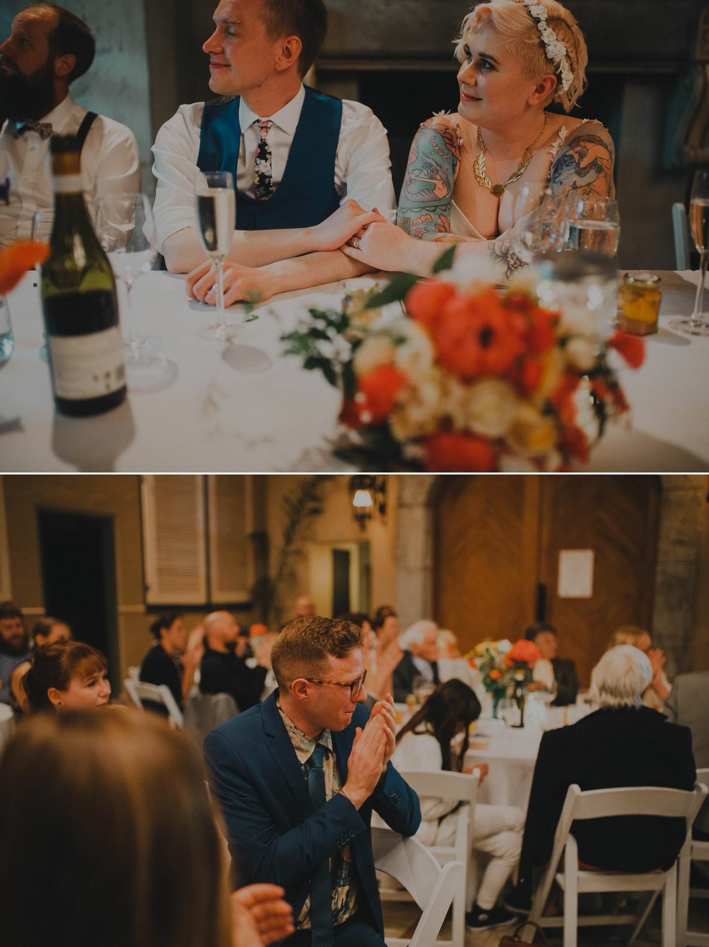 Candid wedding photography during wedding speeches