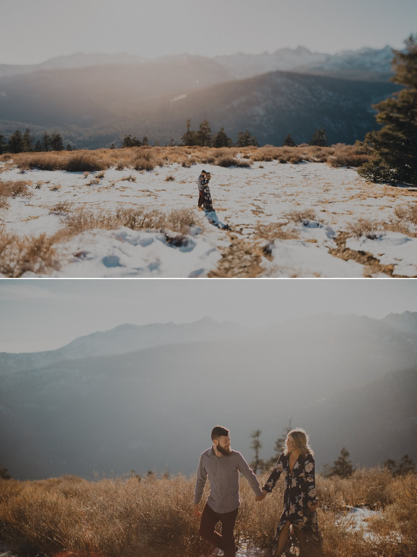 Epic engagement photos on a mountain top. Wedding photographer California.